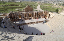 Amphitheater in Jerash (Gerasa of Antiquity), capital and largest city of Jerash Governorate, Jordan Stock Image