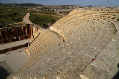 Amphitheater in Jerash (Gerasa of Antiquity), capital and largest city of Jerash Governorate, Jordan Stock Photo