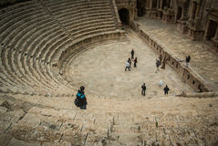 Amphitheater in Jerash, Jordan. Ancient romans riuns in Jerash, Jordan. Amphitheater Royalty Free Stock Image