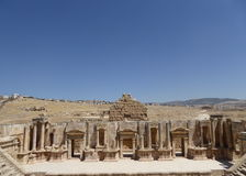 Amphitheater in Jerash. South Theater, Ancient Roman city of Jerash of Antiquity Royalty Free Stock Images