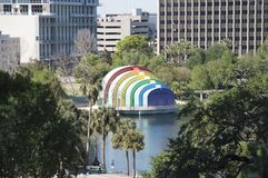The amphitheater on Lake Eola painted stock images