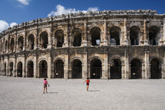 Amphitheater in Nimes. Ancient Roman Amphitheater in Nimes, France Royalty Free Stock Photo