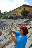 Amphitheater Plovdiv visitors, Bulgaria Royalty Free Stock Image