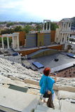 Amphitheater Plovdiv tourists, Bulgaria Royalty Free Stock Image