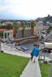 Amphitheater Plovdiv tourists, Bulgaria Stock Photo