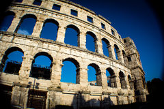 The amphitheater in Pula. Is one of the most consered roman arenas in the world Royalty Free Stock Photos