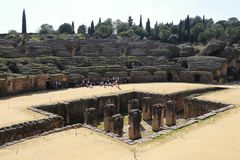 Amphitheater of the Roman city of Italica. In the municipality of Santiponce, Seville, Andalusia, Spain Royalty Free Stock Photography