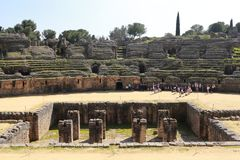 Amphitheater of the Roman city of Italica. In the municipality of Santiponce, Seville, Andalusia, Spain Stock Photo