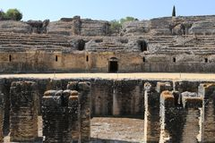 Amphitheater of the Roman city of Italica. In the municipality of Santiponce, Seville, Andalusia, Spain Stock Photos
