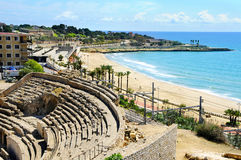 amphitheater roman s tarragona Royaltyfria Foton