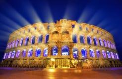 Amphitheater romano antico nei PULA, Croatia fotografia stock libera da diritti