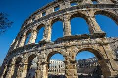 Amphitheater romano antico nei PULA, Croatia Eredità dell'Unesco fotografia stock