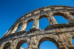 Amphitheater romano antigo nos Pula, Croatia Local do Unesco Fotos de Stock Royalty Free