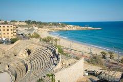 Amphitheater romano em Tarragona, Spain Foto de Stock
