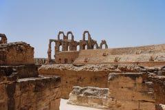 Amphitheater romano em Tunísia Fotos de Stock Royalty Free