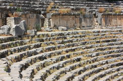 Amphitheater. Ruins of the ancient amphitheater in Asia Minor, in Turkey Royalty Free Stock Photo