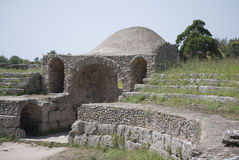 Amphitheater of the ruins of Paestum Stock Photography
