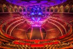 Amphitheater and scene at Royal Albert Hall. London, Great Britain. Royal Albert Hall preparing for performance royalty free stock photos
