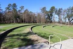 Amphitheater seats with railing. Amphitheater  is located in Hanahan South Carolina Stock Photography