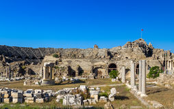 Amphitheater, Side, Turkey. Ruins of ancient Amphitheater, Side, Turkey Stock Photo