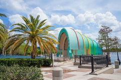 Amphitheater and skyline at Lake Eolla in downtown Orlando, Florida Stock Image