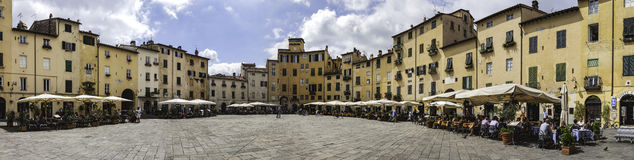 Amphitheater square in Lucca in Tuscany, Italy Stock Photos