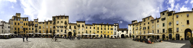 Amphitheater square in Lucca in Tuscany, Italy Royalty Free Stock Images