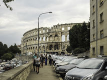 Amphitheater 1st century AD in Pula. Roman style. Aincient. Touristic object. View from the street stock photo