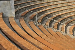 Amphitheater. Wooden benches set Royalty Free Stock Photos