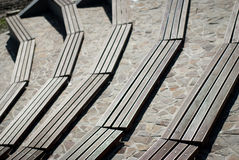 Amphitheater wooden seats Royalty Free Stock Photography