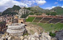amphitheatertaormina Royaltyfri Foto