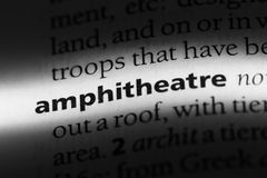 Amphitheatre. Word in a dictionary.  concept Stock Images