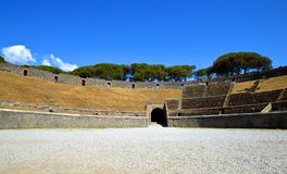 Amphitheatre of ancient roman town of Pompei. Stock Images
