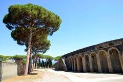 Amphitheatre of ancient roman town of Pompeii - Campania, Italy. Amphitheatre of ancient roman town of Pompeii, destroyed by vesuvius eruption - Campania, Italy stock photography