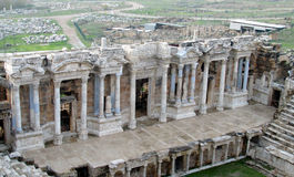 Amphitheatre in ancient ruins of Hierapolis in Turkey Royalty Free Stock Photography