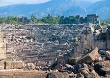 Amphitheatre antigo em Tlos imagens de stock
