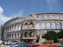 Amphitheatre antigo nos Pula imagem de stock
