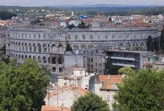 Amphitheatre antigo nos Pula imagens de stock