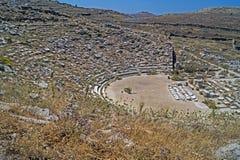 Amphitheatre antiguo, isla de Delos Imagenes de archivo