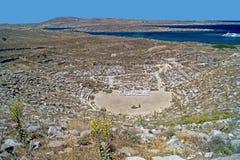 Amphitheatre antiguo, isla de Delos Imagen de archivo libre de regalías