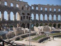 Amphitheatre antique dans les Pula Image libre de droits