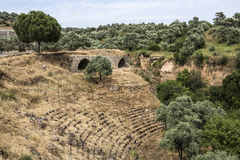 Amphitheatre and aqueductl of Nysa Ancient City in Aydin, Turkey Royalty Free Stock Images