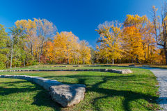 Amphitheatre in autumn park Royalty Free Stock Photos