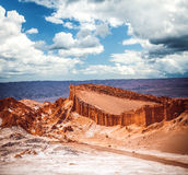 Amphitheatre is beautiful geological formation of Moon Valley. In Atacama Desert, Chile royalty free stock photo