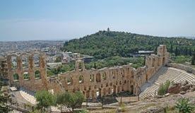 Amphitheatre del greco antico dall'acropoli Fotografia Stock