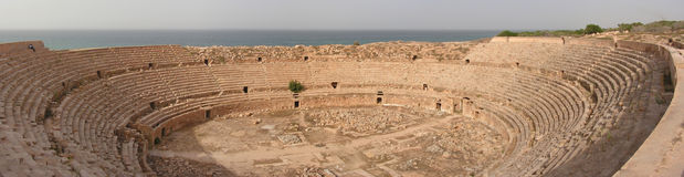 Amphitheatre del Leptis Fotografia Stock