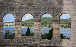 Amphitheatre in den Pula, Kroatien Lizenzfreies Stockfoto