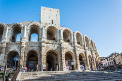Amphitheatre detail in the center of Arles Royalty Free Stock Photos