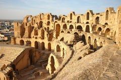 Amphitheatre do EL Djem em Tunísia fotografia de stock