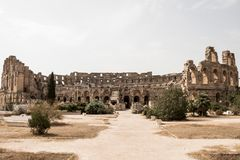 The impressive ruins of the largest colosseum in North Africa, El Jem, Tunisia stock photo
